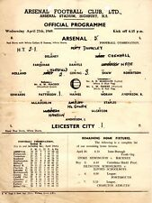 Arsenal v Leicester City Reserves programme, Football Combination, April 1949