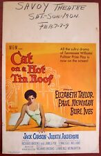 CAT ON A HOT TIN ROOF - ORIGINAL 1958 WINDOW CARD POSTER - ELIZABETH TAYLOR ART!
