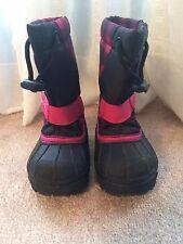 Girls Columbia Warm Winter Boots Sz 7 Pink Black Checkered Pattern