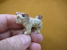 (Y-DOG-LL-11) Lhasa Apso tan Mi Ki DOGS I love my dog carving SOAPSTONE puppy