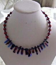 "16"" Handmade Quartz Shard & Burgundy & Blue Shell Pearl Memory Wire Necklace"