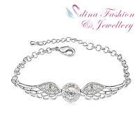 18K White Gold Plated Made With Swarovski Crystal Lovely Angel Wings Bracelet