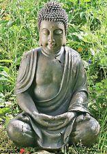 BUDDHA FIGUR 70cm FENG WETTERFEST SHUI STATUE SKULPTUR MODELL MÖNCH GARTEN GRAU