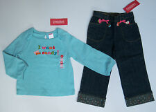 NWT Gymboree Cupcake Cutie 2T Sprinkle Cuff Jeans & Blue I Want Candy Tee Top