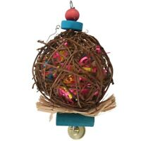 Large Bird Chewing Toys for Parrots Natural Rattan Ball Cage Toy Preening T I6S3