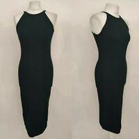 New Miss Selfridge Women Little Black Dress LBD Midi Bodycon Halter Party UK 12