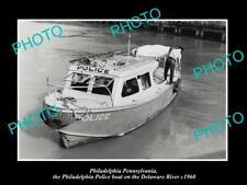 OLD HISTORIC PHOTO OF PHILADELPHIA PENNSYLVANIA POLICE BOAT c1960 DELAWARE RIVER