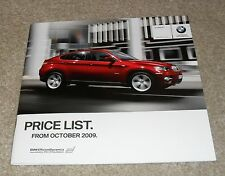 BMW X6 Price Guide Brochure October 2009 - xDrive 35i 30d 35d