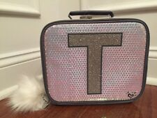 Justice Silver Sequin Sparkle Unicorn Initial T Lunch Box Tote New!