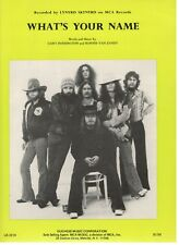 """LYNYRD SKYNYRD """"WHAT'S YOUR NAME"""" SHEET MUSIC-1977-VERY RARE-NEW-MINT CONDITION!"""