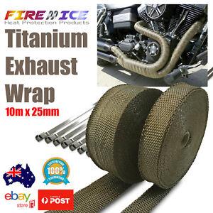 Exhaust Wrap Motorbike Motorcycle Bike Titanium 10m x 25mm Harley Heat Wrap