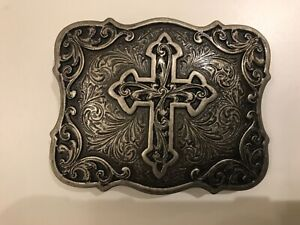 Vintage,floral tooled Western rodeo belt buckle with Cross.antique nickel plaite