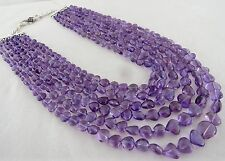 955 CTS NATURAL AMETHYST HEART SHAPED BEADS NECKLACE WITH SILVER HOOK