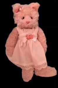 """Russ Berrie Ivory Kitty/cat/kitten Shaggy 10"""" vintage/ vtg HTF Dressed original"""