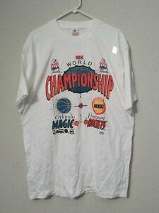 Vintage 1995 Finals Orlando Magic Vs Houston  Cotton White Men T-shirt YY007