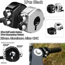 Black CNC ATV Motorcycle Handlebar Switch 3 Buttons Self Latch & Momentary 1x