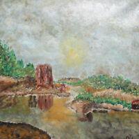 Landscape river impressionist oil painting signed