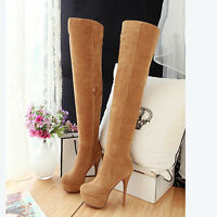Womens Stilettos Over knee Boots Zip Platform Sexy Winter Shoes High Heel Plus