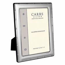 """CARRS - Sterling Silver Photo Frame Reed & Ribbon Velvet Back - 7"""" x 5"""""""