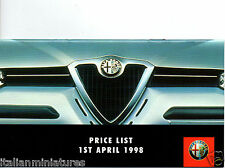 Alfa Romeo Price List Brochure 1st April 1998 145 146 156 Spider GTV UK 24 Page