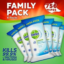 Dettol Antibacterial Cleaning and Surface Wipes, 756 Wipes, Pack of 6 x 126