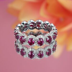 2.90Ct Oval Red Ruby Full Eternity Engagement Band Ring 14k White Gold Finish