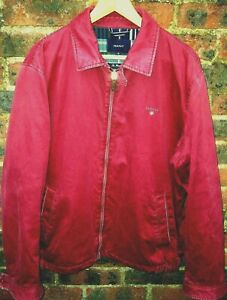 GANT MENS BURGUNDY RED HARRINGTON BOMBER JACKET/COAT SIZE XL