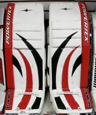 """New Powertek Barikad goalie leg pads Sr 36""""+1 black/red senior ice hockey goal"""
