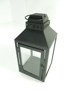 Square Top Black Candle Light Lantern Hanging Metal Glass Decor