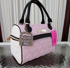 BETSEY JOHNSON SPEEDY LUNCH TOTE INSULATED BAG QUILTED HEARTS BLUSH PINK NWT