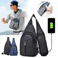 Men Nylon Shoulder Bag Sling Chest Pack USB Charging Sports Crossbody Handbag
