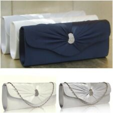 Satin Ivory Silver Navy Evening Bridal Prom Clutch Bag Purse Handbag 67 UK