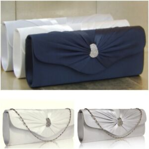Satin Ivory Silver Navy Evening Bridal Prom Clutch Bag Purse Handbag 67 UK
