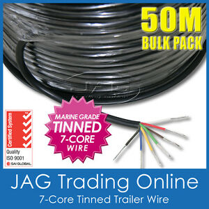50M x 7-CORE MARINE GRADE TINNED TRAILER WIRE-AUTO/BOAT/CARAVAN ELECTRICAL CABLE