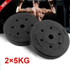 OLYMPIC WEIGHT PLATES DISCS WEIGHTS EXERCISE GYM TRAIN FITNESS SET BLACK 2×5KG