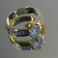 Engagement, Ladies Gold / Silver Ring, Cubic Zirconia, six Swarovski Stones, NEW