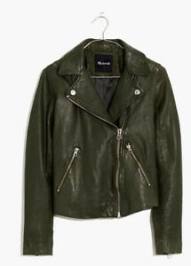 Madewell Washed Leather Motorcycle Jacket NWT XXS Dark Forest. Never worn! $498