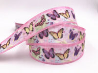 10 Y 25MM Printed Butterfly pattern Grosgrain Ribbon Hair Bow Sewing crafts