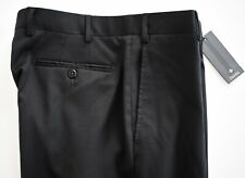 NWT Authentic ZANELLA *TODD* Black 100% WOOL FLAT Front Dress Trousers Pants 34