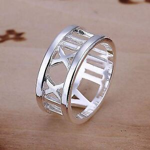 -UK- Silver Plated Roman Numeral Style Statement Ring, Vintage Style- Gift Bag