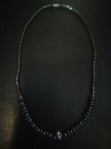 "Beautiful Beaded Hematite Gemstone 18"" Necklace Birthday Gift Healing with Clasp"