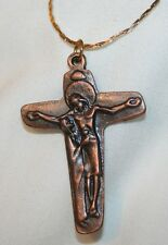 Handsome Sculpted Coppertone Mary With Jesus At the Cross Necklace