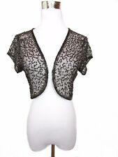 Womens Vtg Retro Brown Wedding Formal Lace Sequin Embellish Shrug Bolero BA94