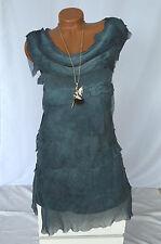 Kleid Volantkleid Empire 100% Seide Edel Rüschen ärmellos dunkel blau Gr. 42