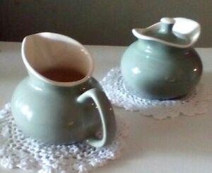 Vintage Green Outside White Inside Restaurant Porcelain Creamer And Sugar Set