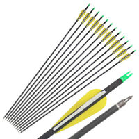 "31"" Pure Carbon Arrows Spine 350 Archery Hunting for Compound Bow Archery Arrows"