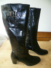 PLUMERS UK5 SIZE 38 LADIES BLACK LEATHER KNEE HIGH BOOTS GOOD CONDITION
