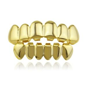 14K Gold Plated Hip Hop Teeth Grillz Top Bottom Mouth Silver Grill Set Custom