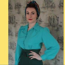 Freddies of Pinewood 1940s Style Turquoise Spellbound Ladies Blouse Size 10