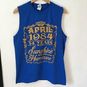 Retro Sleeveless Tank Size M Blue Muscle Vest April 1984 34 Years Birthday Tee